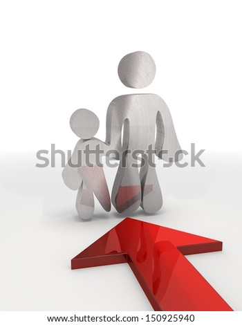 Red  little design 3d graphic with isolated father and son label with red arrow