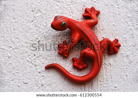 Red lizard decoration