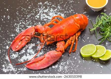 Red lobster on slate tray - stock photo