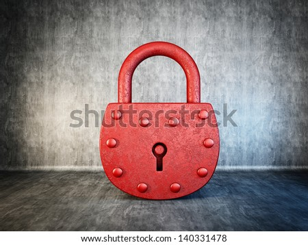 red lock isolated on a concrete background - stock photo