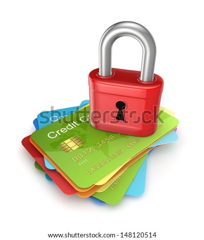 Red lock on colorful credit cards.Isolated on white.3d rendered. - stock photo