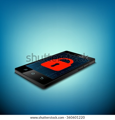 Red lock on the smartphone screen. Access is denied. Stock illustration. - stock photo
