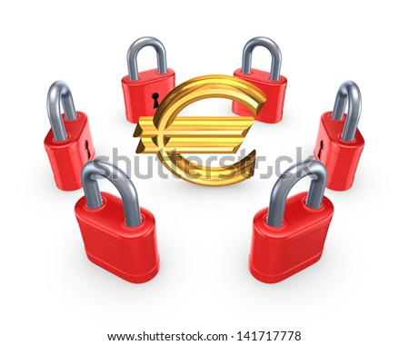 Red locks around symbol of euro.Isolated on white.3d rendered. - stock photo