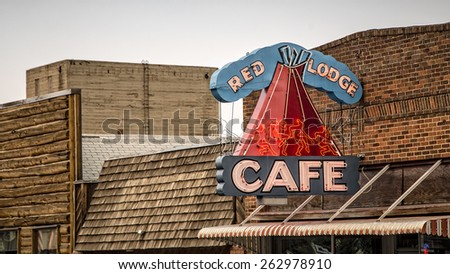 RED LODGE, MONTANA August 1:An old vintage neon sign in Red Lodge, Montana.on August 1, 2013. - stock photo