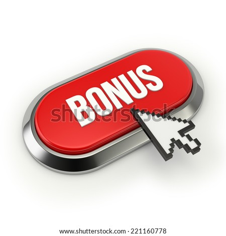 Red Long Bonus Button With Chrome Border On White Background