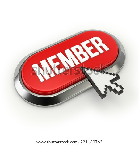 Red Long Member Button With Chrome Border On White Background