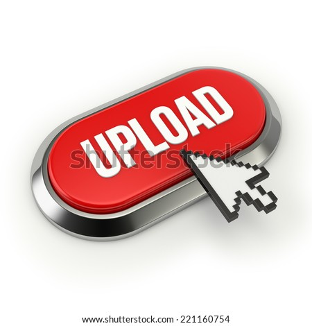 Red Long Upload Button With Chrome Border On White Background