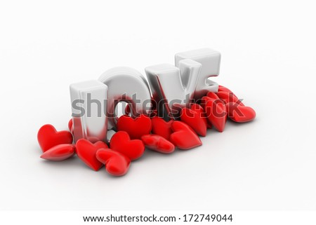red love hearts, valentines day concept - stock photo