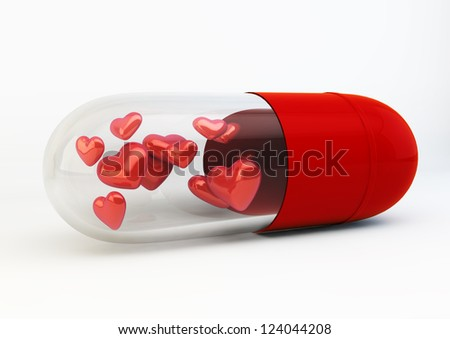 Red Love Pills inside capsule 3d Illustration isolated on white background - stock photo