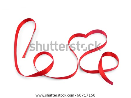 red love ribbon bow isolated on white background
