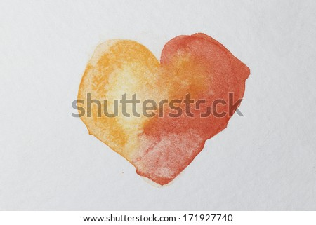 Red love watercolor heart - stock photo