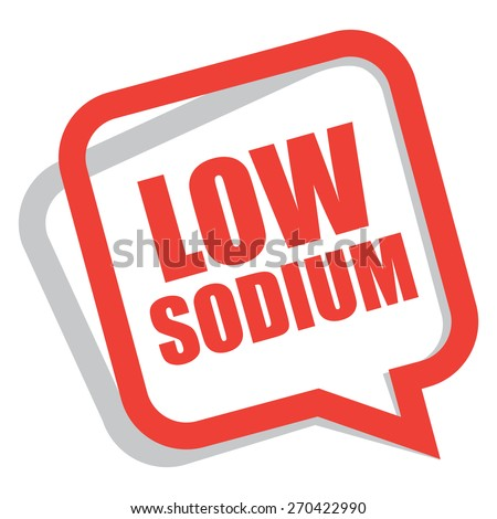 red low sodium speech bubble, speech balloon, sticker, sign, icon, label isolated on white - stock photo