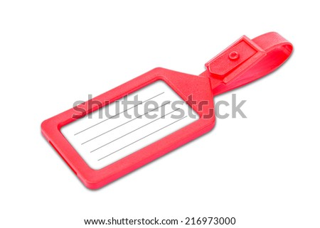 Red luggage tag with copy space over white background  - stock photo