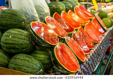 Red lush and fresh watermelons on sale, juicy and sweet you would not forget!