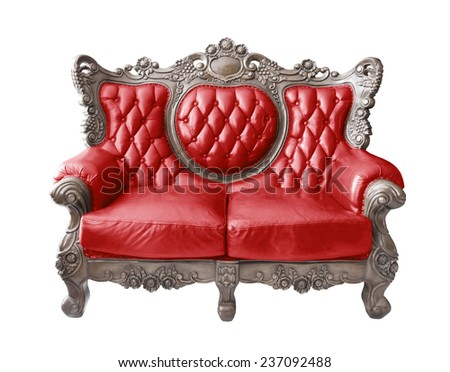 Red luxurious vintage sofa on white background. clipping path. - stock photo