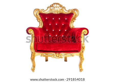 Red luxury armchair isolated on white background