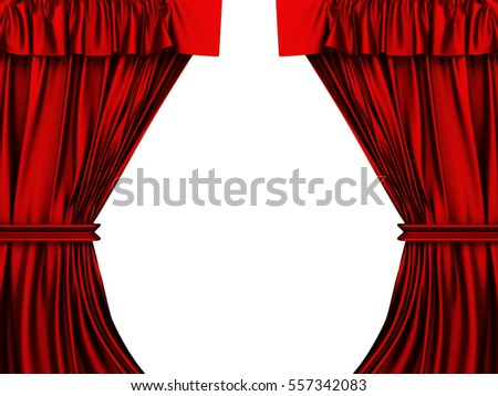 Red luxury satin cloth drapery background. 3d render illustration