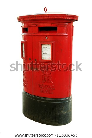 Red mail-box in London isolated on white surface.