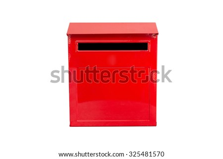 red mail box isolated on white background - stock photo