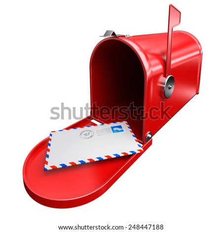 Red mailbox and a letter envelope mail inbox correspondence with postage stamp and postmark.  - stock photo