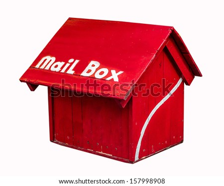 Red mailbox isolated on white background - stock photo