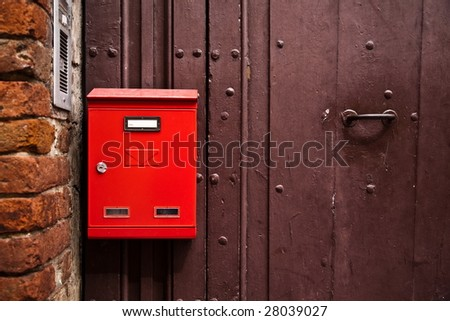 Red Mailbox. Old Italy Series. - stock photo