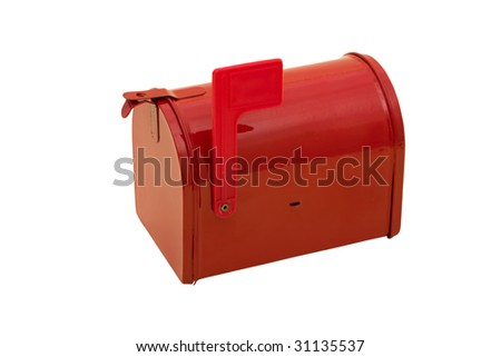 Red mailbox with the flag up sitting on a white background, mailbox