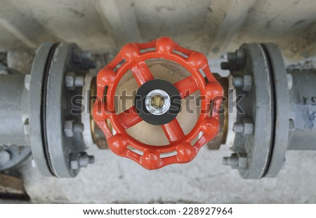 Red main public water valve - stock photo
