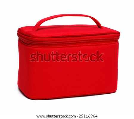 red makeup bag isolated at white background