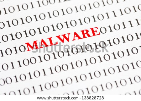 Red Malware Text On Binary Code.
