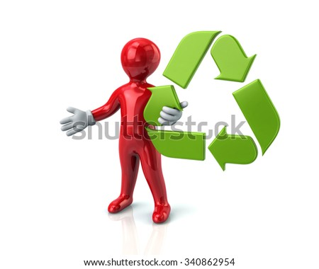 Red man and green recycle arrows on white background  - stock photo