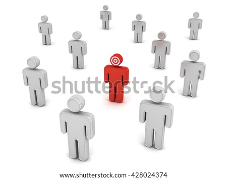 Red man stand out from the crowd different concept isolated over white background. 3D rendering.