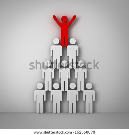 Red man standing with arms wide open up on top of pyramid over white wall , Leadership concept - stock photo