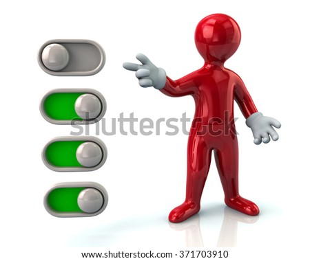 Red man turning on toggle switches - stock photo