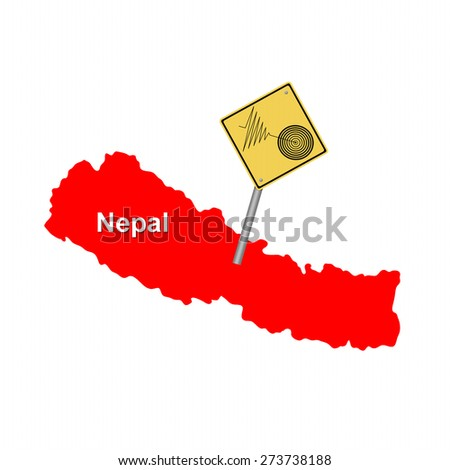 Red map of Nepal with a tremore warning sign. - stock photo
