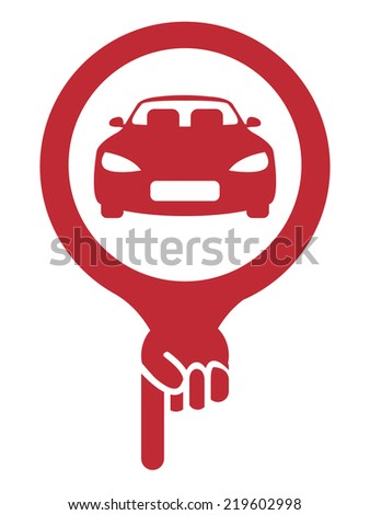 Red Map Pointer Icon With Car, Car Showroom, Car Rental Service or Car Park Sign Isolated on White Background  - stock photo