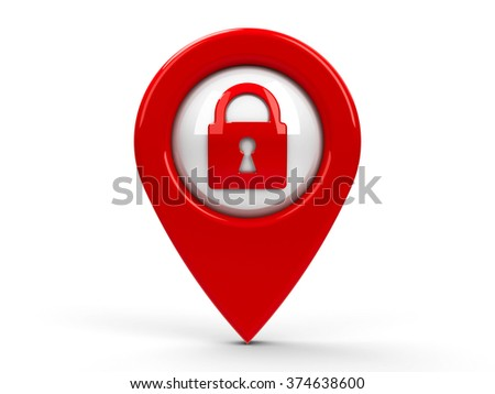 Red map pointer with security icon isolated on white background, three-dimensional rendering - stock photo