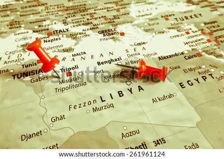 Red marker over Libya - stock photo