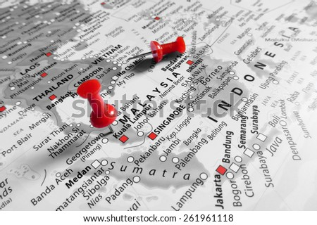 Red marker over Malaysia - stock photo