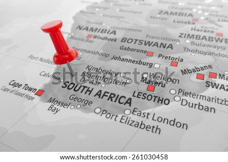 Red marker over South Africa - stock photo
