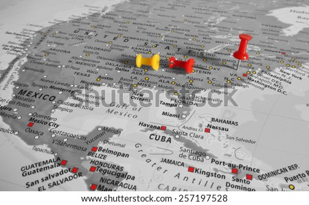 Red marker over USA - stock photo