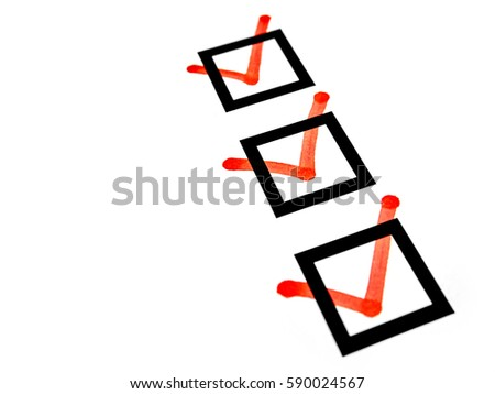 red marks on checkboxes of checklist