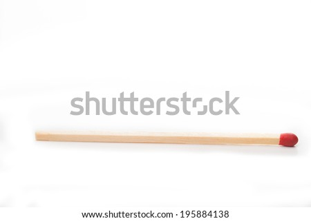 Red matchstick isolated with white background