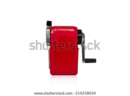 red mechanical sharpener of pencil on the white background