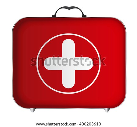 Red Medical Bag with a Cross Illustration