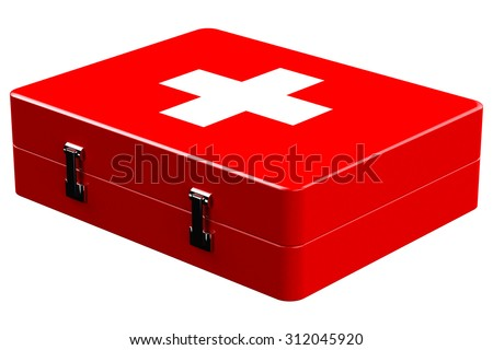 Red medicine chest isolated on white background.  3D render. - stock photo