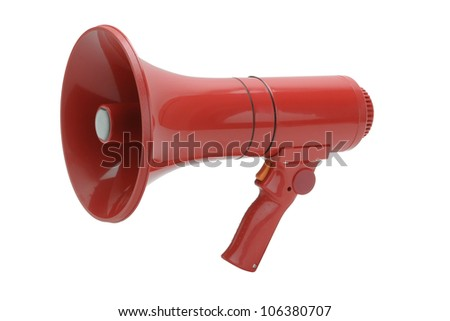 Red Megaphone handheld on white background