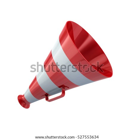 Red megaphone icon 3d rendering on white background