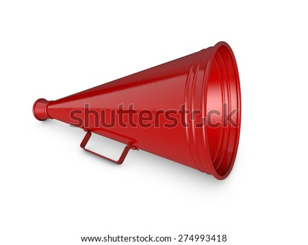 Red megaphone isolated on white background - stock photo