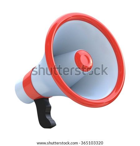 Red megaphone or loudspeaker in the design of information related to communication - stock photo